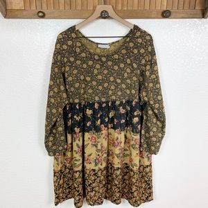 Vintage 90s Floral Patchwork Babydoll Dress